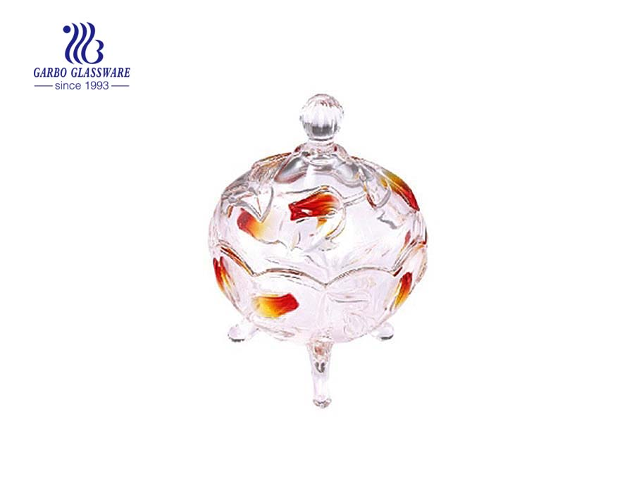 3.8inch small wholesale three foot glass candy pot jar without lid