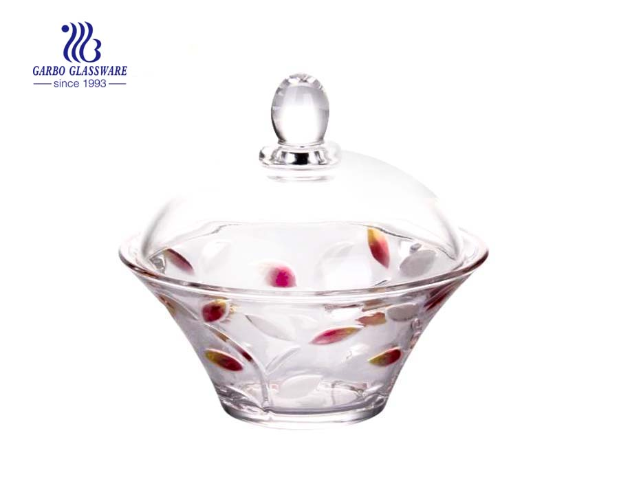 5.6inch elegent glass blue rose design glass candy jar for wedding use