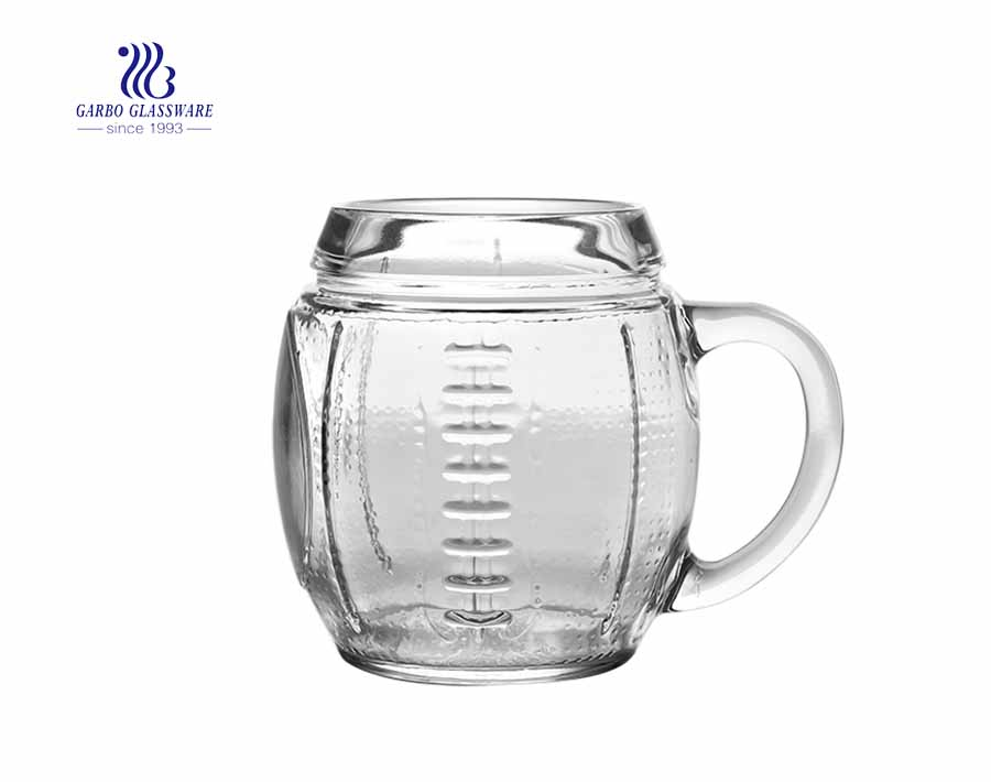 big capacity glass mug with handle glass for beer drinking