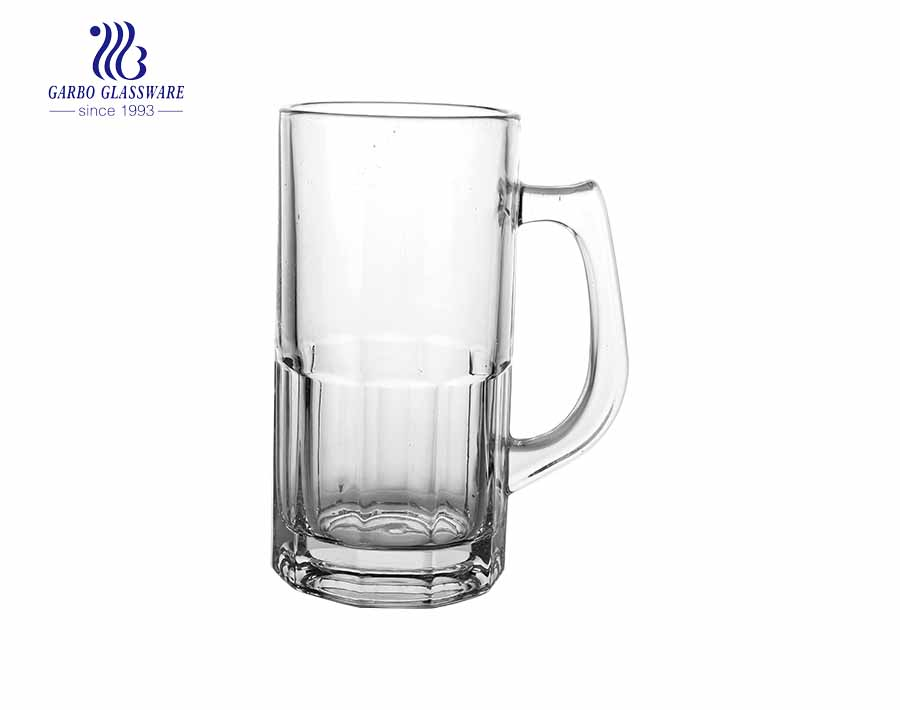 big capacity glass mug with handle glass for beer drinking