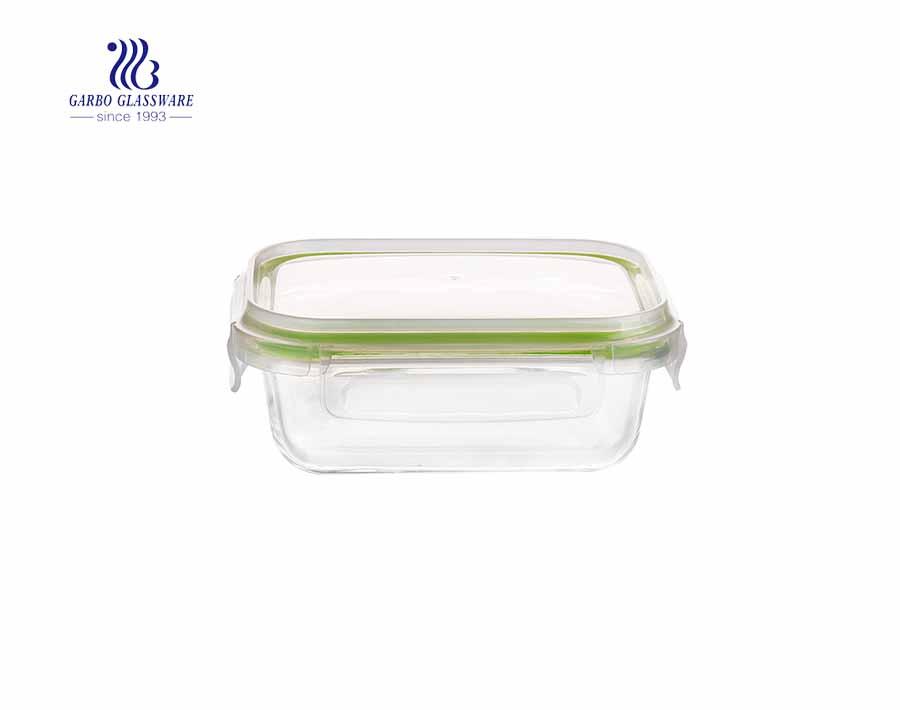 570ccm Rechteck Pyrex Glas Lebensmittelbehälter frische Box mit PP-Deckel