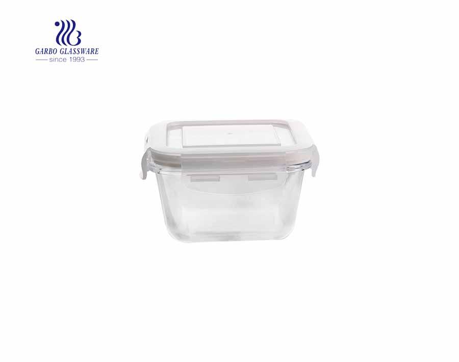 Unique square heatable 330ml pyrex glass lunch box