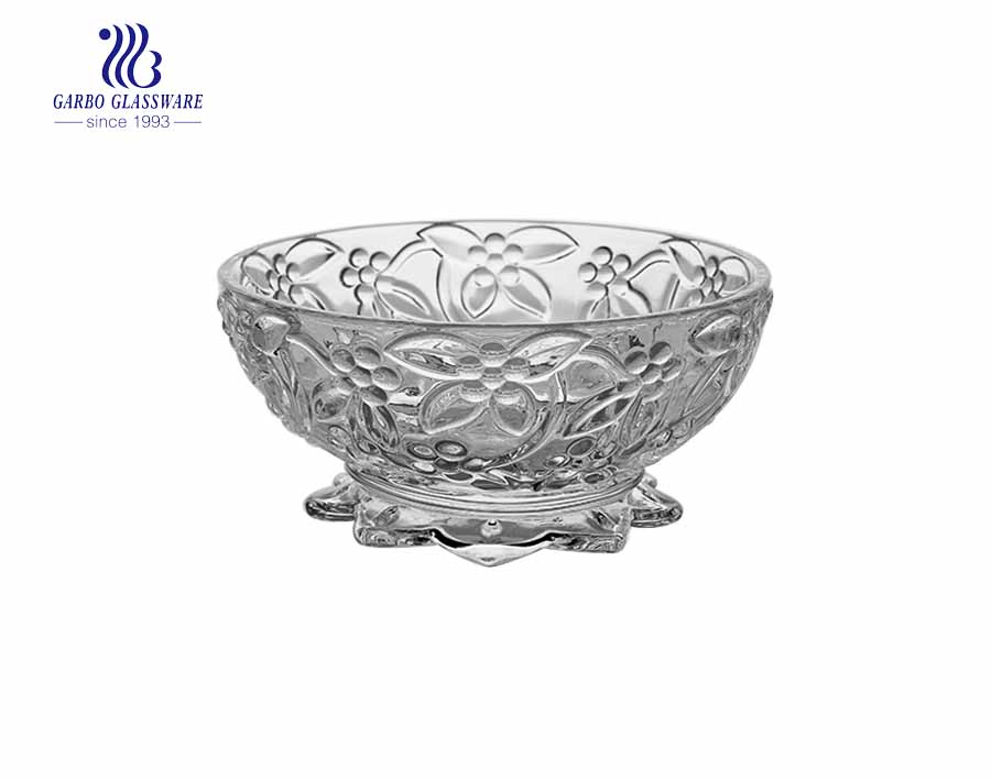 4.02'' Clear Glass Bowl with fish stand for nut Serving
