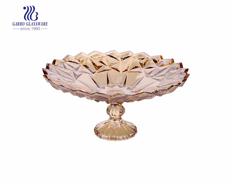14.06'' Big Size Ion Electroplated Elegant Glass Plate for Home Decoration