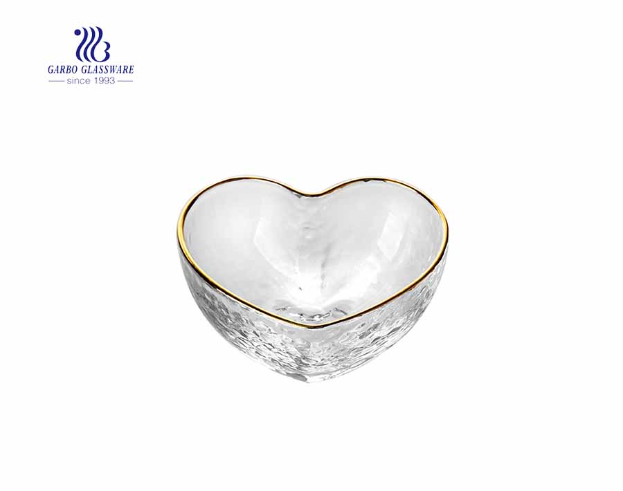 Clear White Heat shaped Glass Salad Bowl for gift order