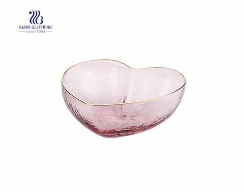 Handmade Pink Heat Shape Fancy Glass Fruit Bowl
