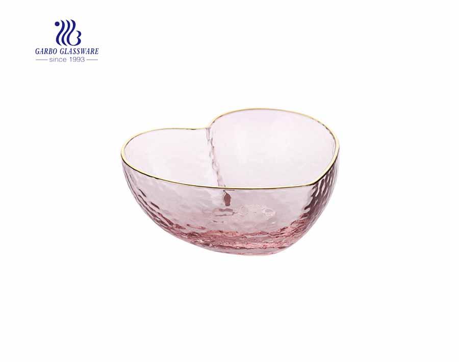 Tazón de Frutas de Cristal Rosa Hecho a Mano con Forma de Calor