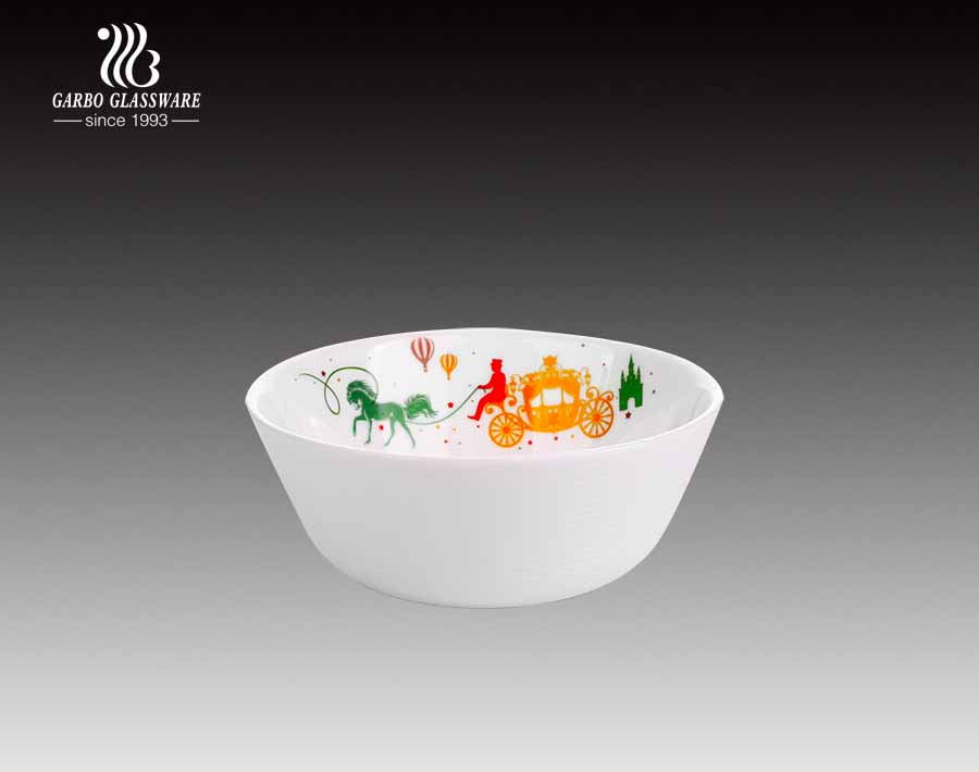 Round shape full decal popular spining white opal glass bowl