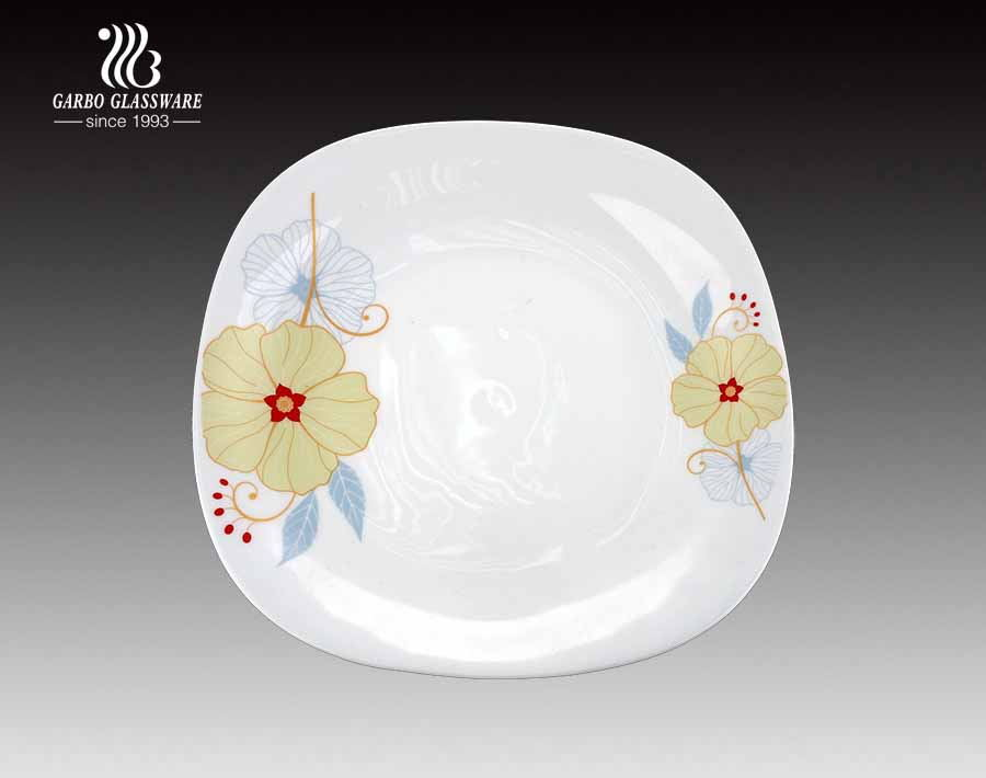 Square shape high quality kitchen use decal spining opal glass plate