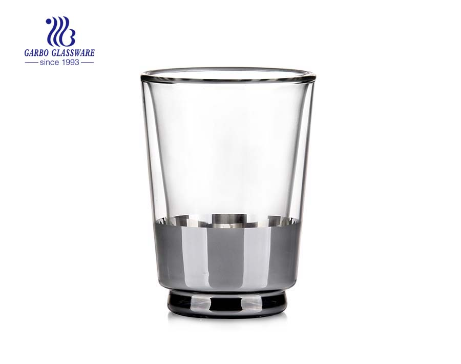 New arrival electroplated decoratived double wall glass cup 8oz