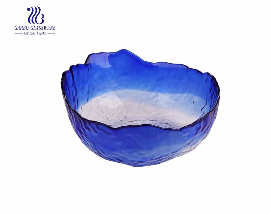 Promotional mail order blue color glass fruit  bowls