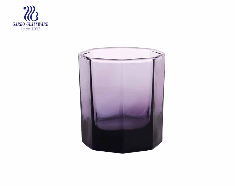 Copos de água de vidro de cor roxa requintado copo de suco