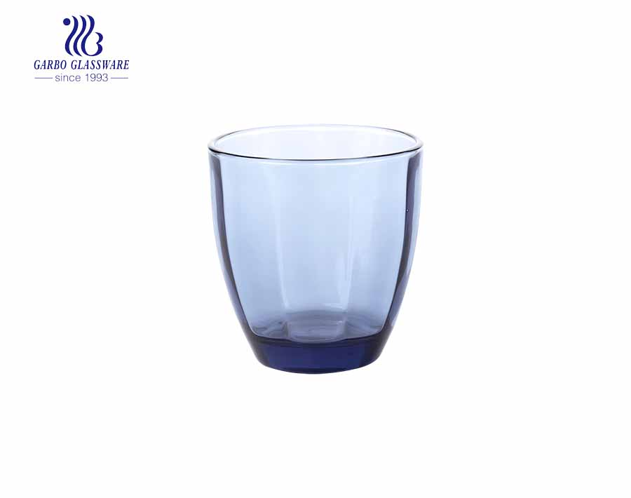 Wholesale 220ml blue colored glass cups for juice