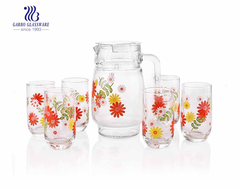7pcs decalque conjunto de copos jarra de vidro conjunto com copos