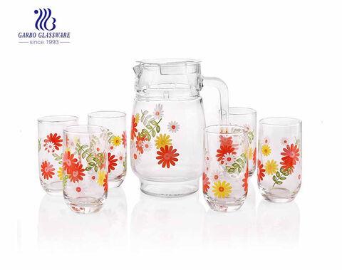 7PCS صحن الأواني الزجاجية مجموعة شرب إبريق زجاجي مع البهلوانات