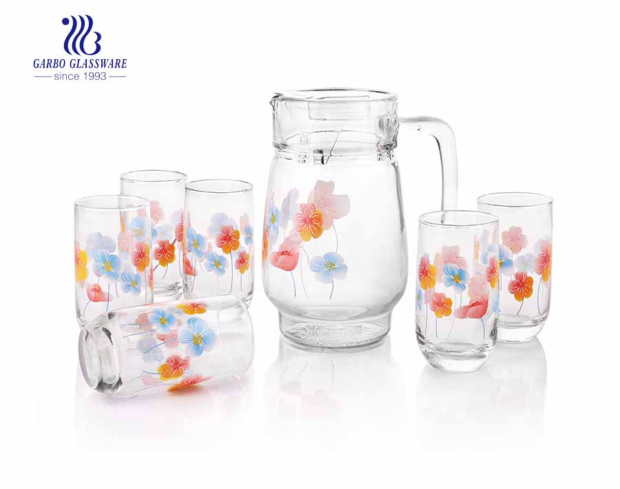 Elegant Glassware Set 7pcs Drinking Set Glass Pitcher And Blown Tumblers