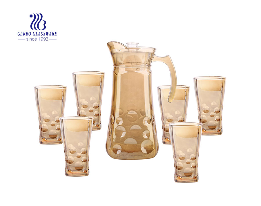 7pcs Plating Glass Drinking Set Water Glass Pitcher And Tumblers