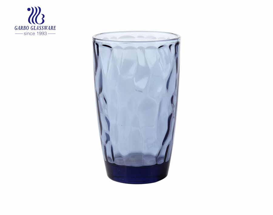 300ml Solid blue colored glass water cups