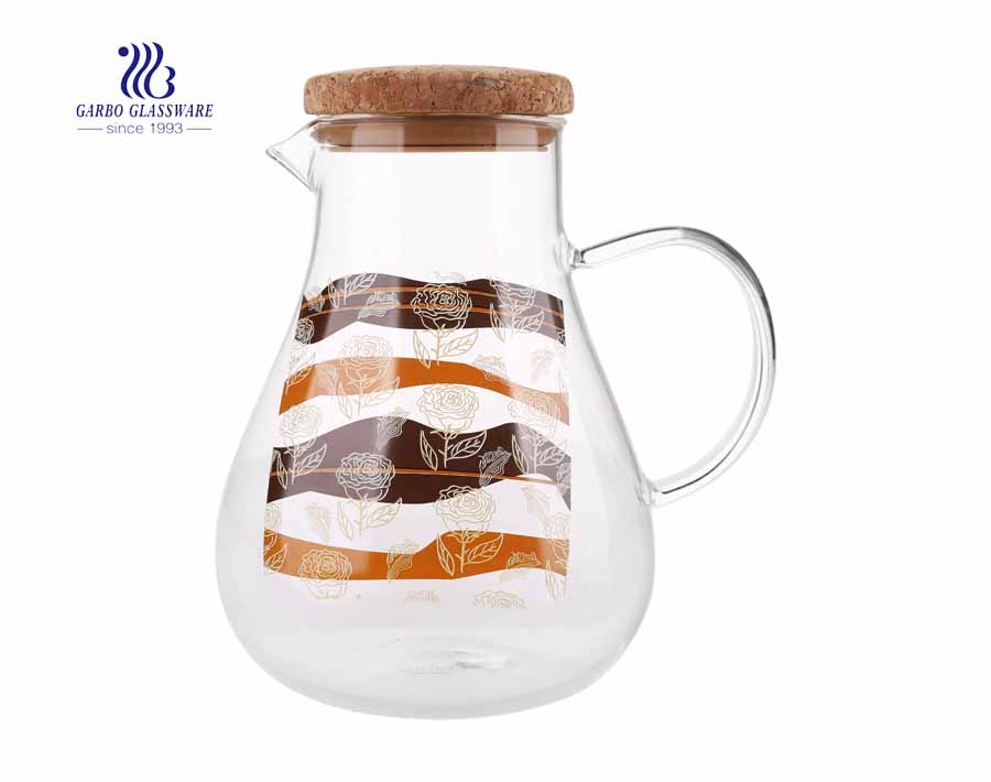 Kitchen Glass Tea Pot Drinking Pitcher Beverage Water Jug with Wooden Lid