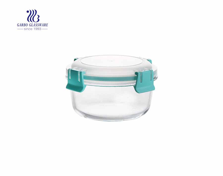 840cc Unique leakproof airtight pyrex round glass lunch box