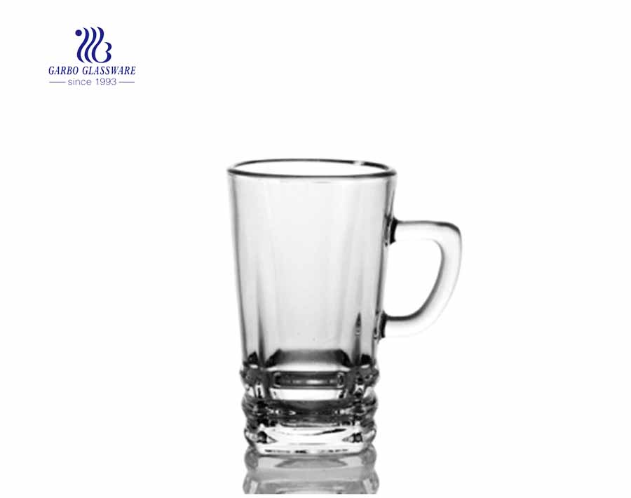 glass mug in glass with thick bottom for tea drinking