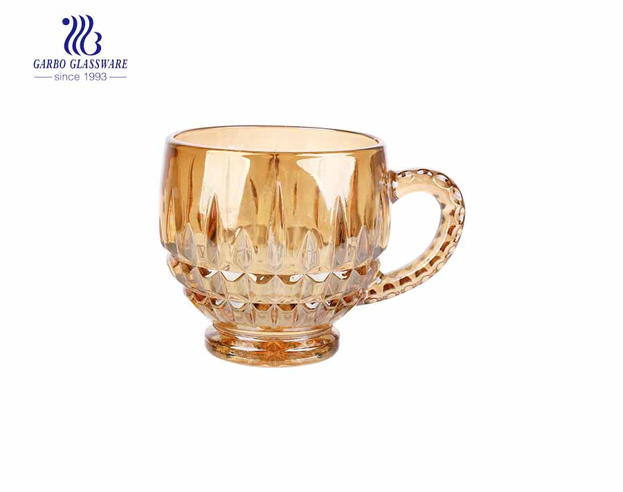 round special glass tea drinking mug with small bottom