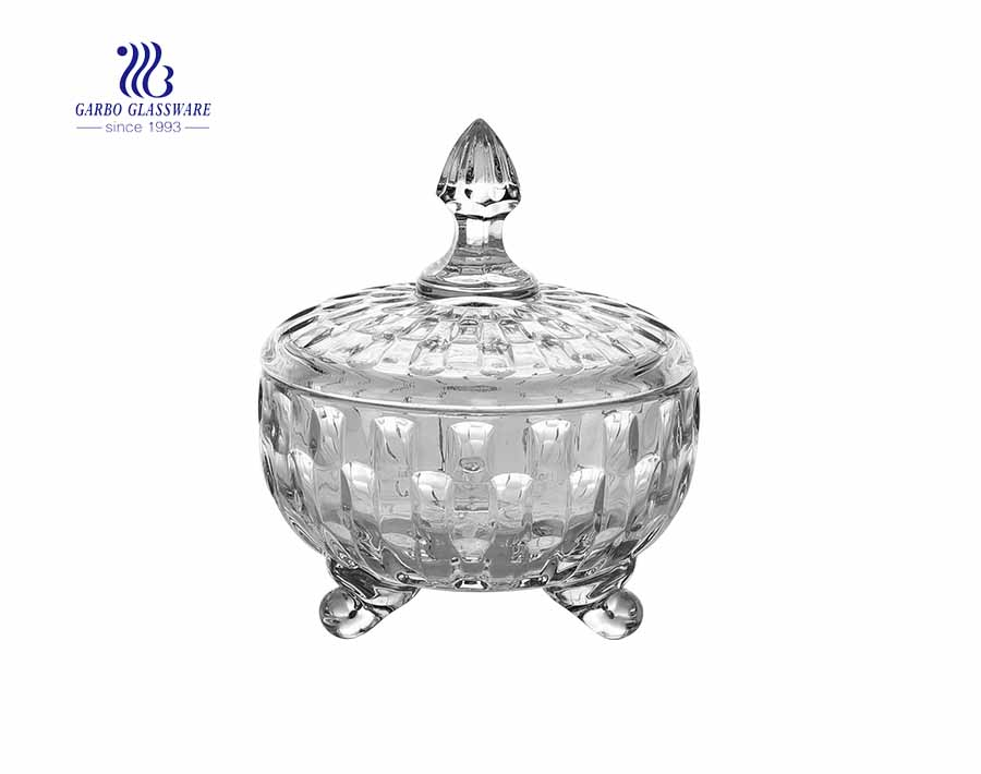 4.7 Zoll hochwertige gravierte Design Glas Candy Glas mit Deckel