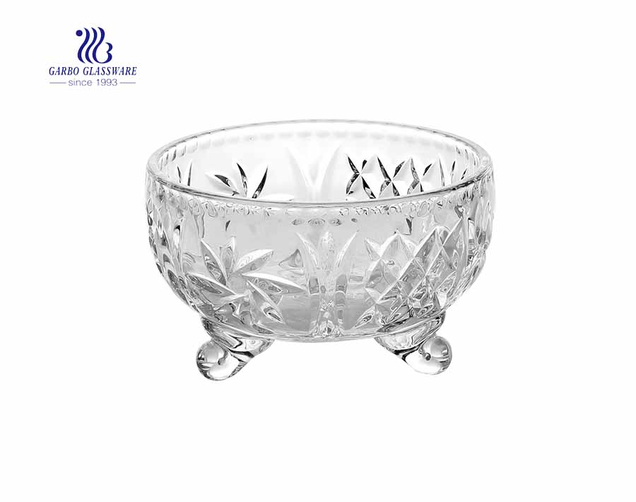 4.7 inch high quality engraved design glass candy jar with lid