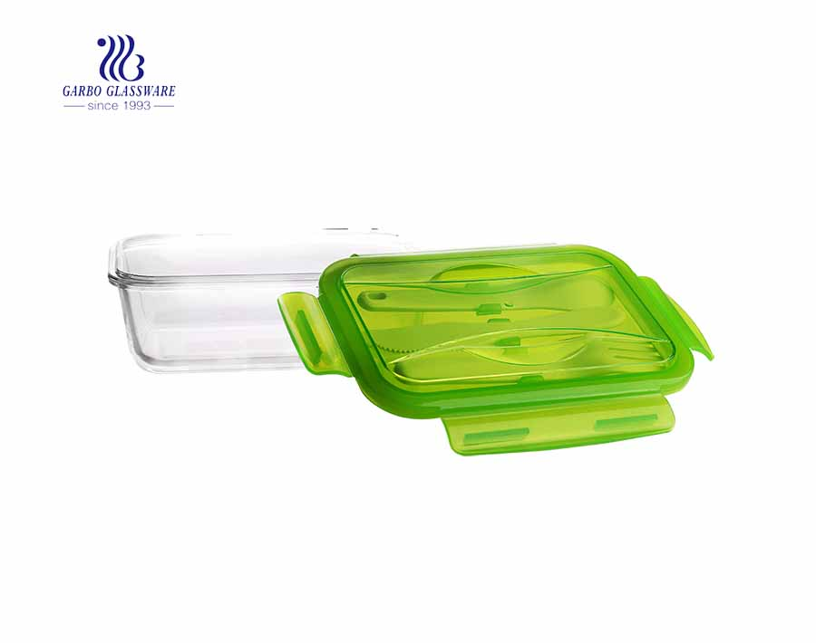 840ml Cheap unique pyrex glass lunch box with flatware