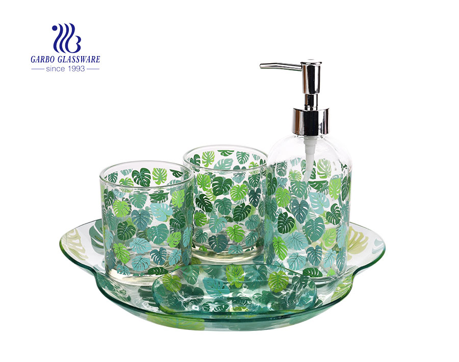 Glass Mosaic Bathroom Accessories Set Includes Soap Dispenser Pump Toothbrush Holder