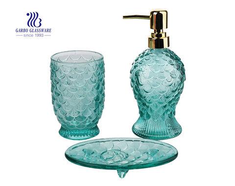 Glasmosaik Badezimmerzubehör Set enthält Seifenspender Pump Zahnbürstenhalter