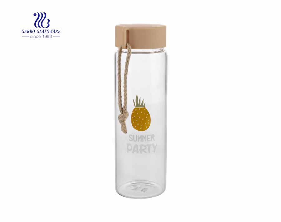 Garbo new design borosilicate sports 0.5L glass water bottle