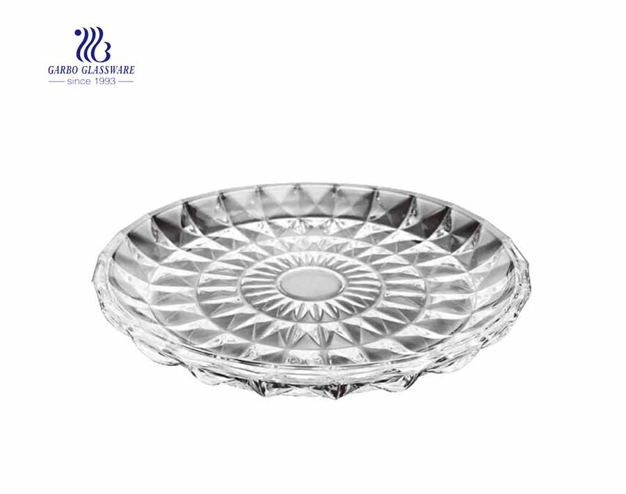 Food grade wholesale  glass fruit salad bowl with sunflower  pattern