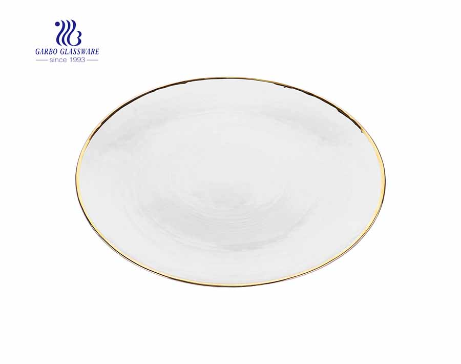 Household Use Golden Rim 10 Inches Glass Fruit Plate