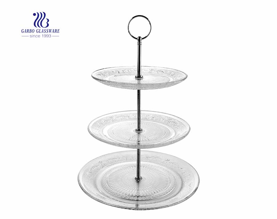 Europe daily use 3 layers glass plate glass dish set