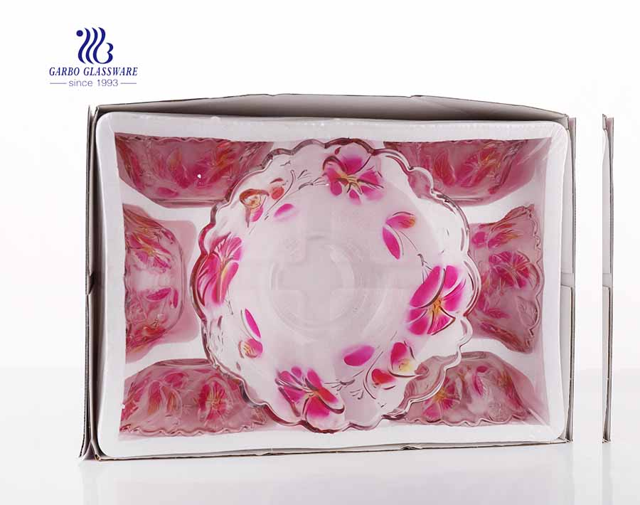 7PCS Glass Bowl Set with Colored Flower Design