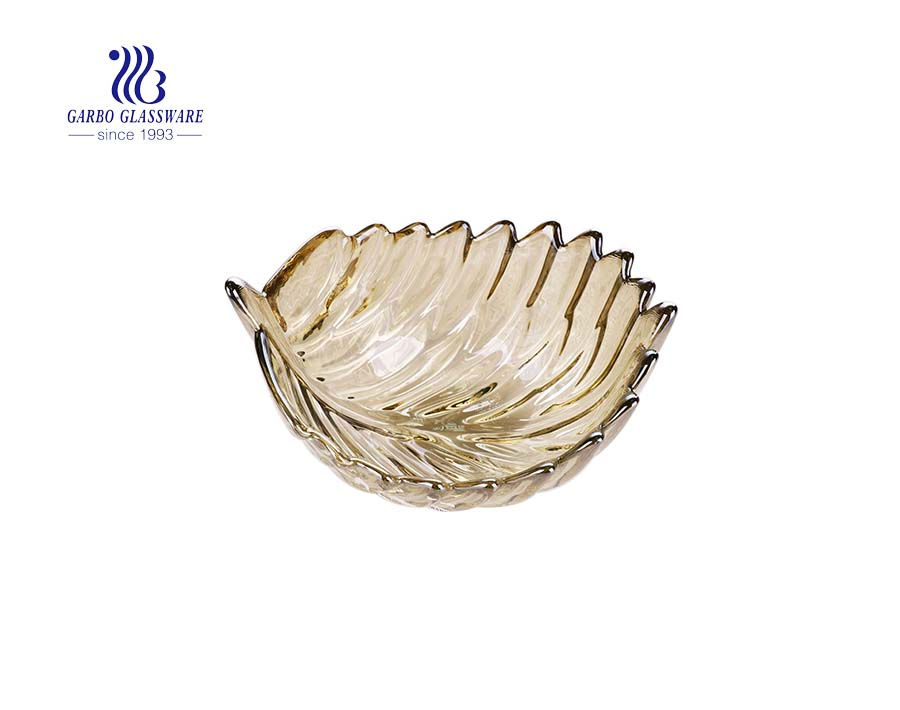 7.09'' Amber Color Painted Leave Shape Glass Fruit Bowl for Home Usage