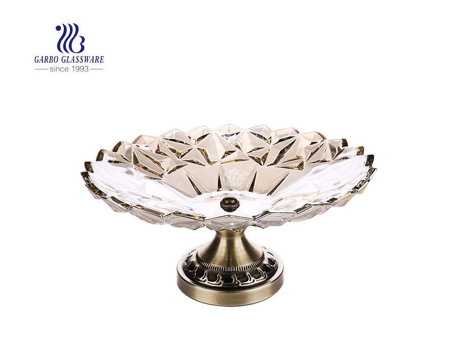 11.57'' Big Size Ion Electroplated Elegant Glass Plate for Decoration