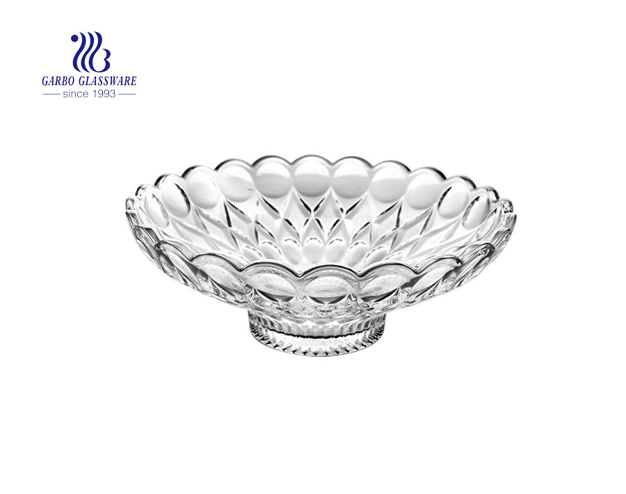 12.72'' Dot Design Glass Fruit Plate for Home Usage