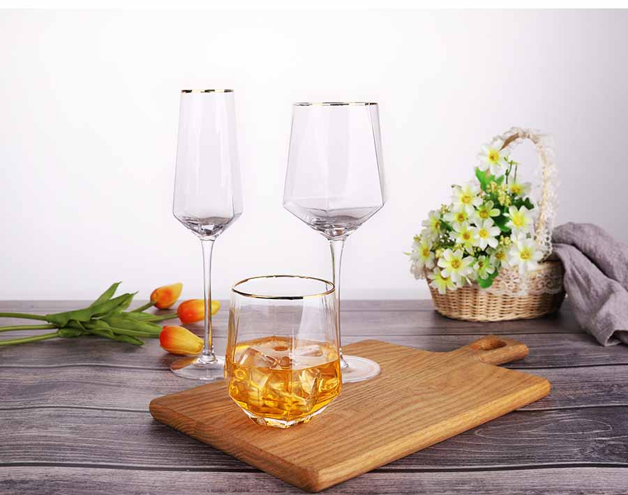 190ml pyramid shape Absinthe wine glass with antique gold trim and diamond