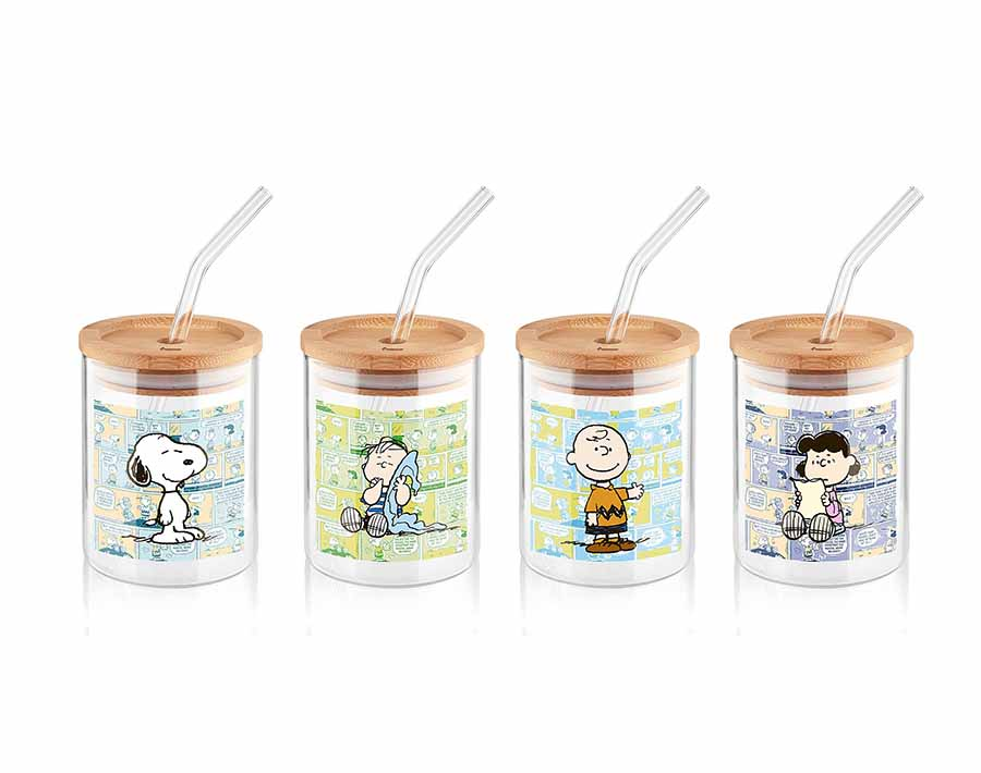Lovely printing borosilicate glass drinking cup with bamboo lid and glass straw