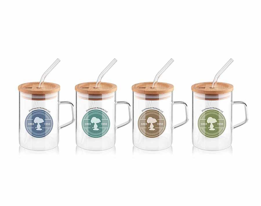 Individueller Druck Pyrex Glas Trinkbecher mit Bambusdeckel und Glasstroh