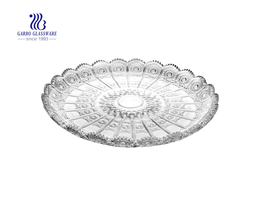 New arrived 13'' Elegant Glass Fruit Plate for Home Usage