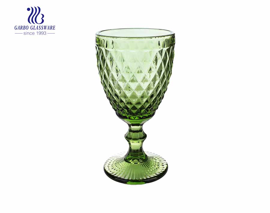 300ml green solid color glass stemware for beverage
