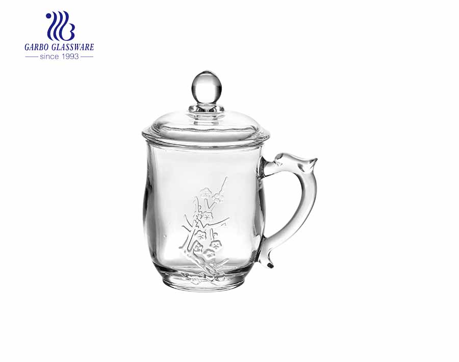 special engraved glass tea mug with glass cover