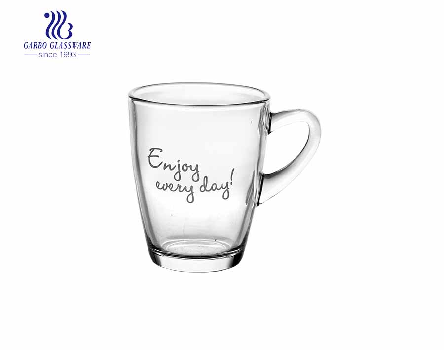 caneca de chá de vidro gravado especial com tampa de vidro