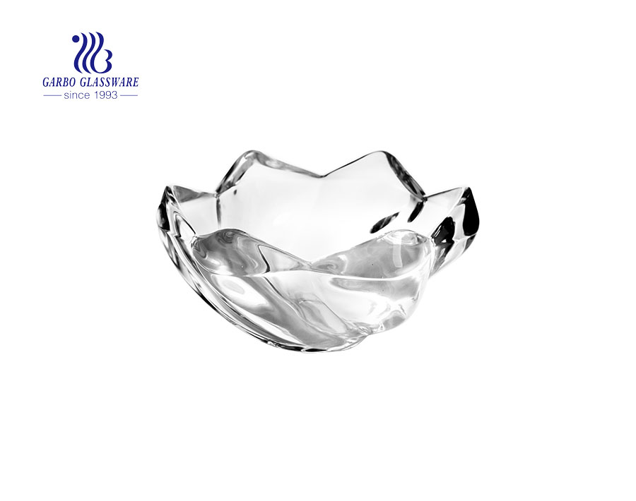 8.82'' Ice Cube Shape Clear Glass Bowl Tableware for Serving Fruit