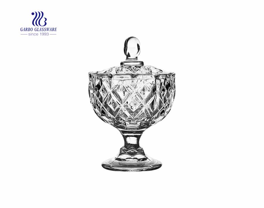 3.8inch diamond design engraved glass candy pot with standing