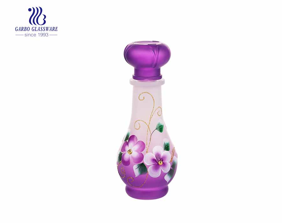 Wholesale cheap frosted colored and hand made painting 3pcs glass water bottle set