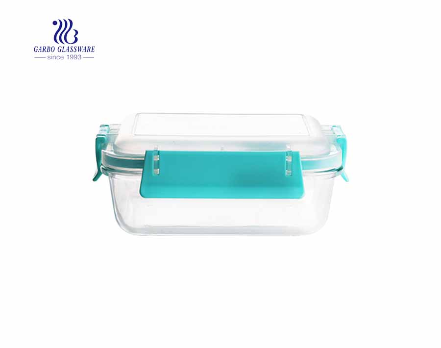 800cc Rectangle borosilicate glass food container with PP lid